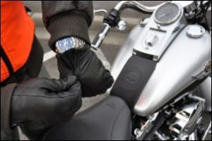 Rider Wearing Gloves