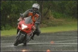 MotorCyclist wearing Waterproof Boots