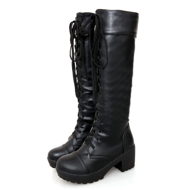 Knee High Leather Boots Women